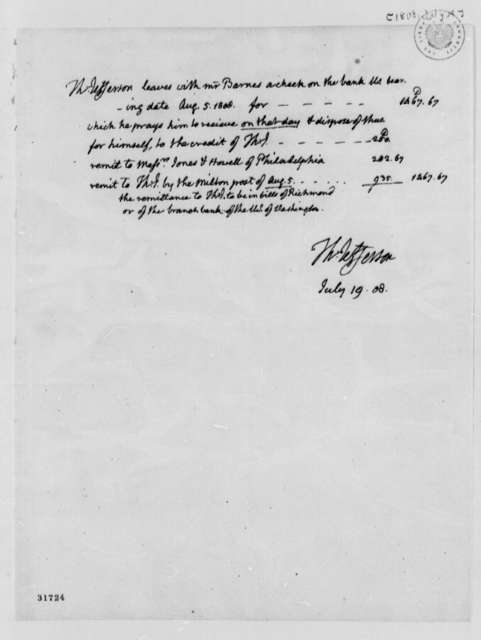 Thomas Jefferson to John S. Barnes, July 19, 1808