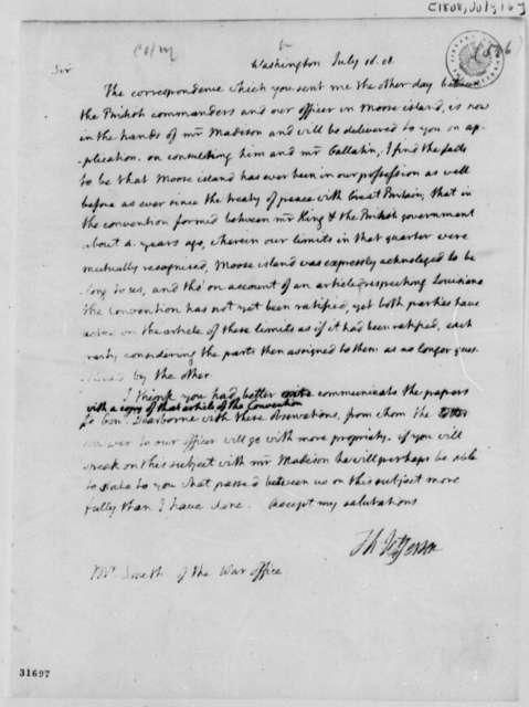 Thomas Jefferson to John Smith, July 16, 1808