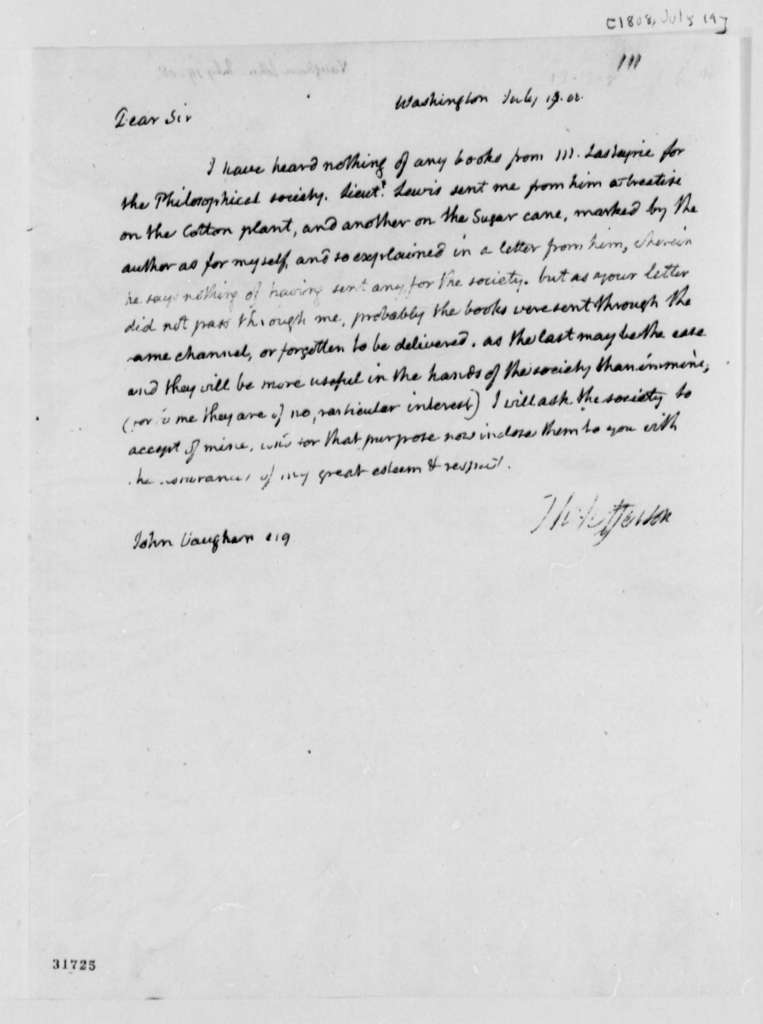 Thomas Jefferson to John Vaughan, July 19, 1808