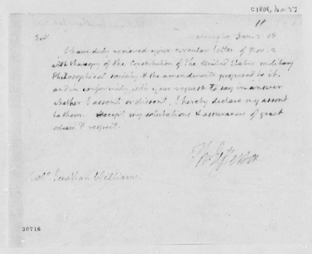 Thomas Jefferson to Jonathan Williams, January 3, 1808