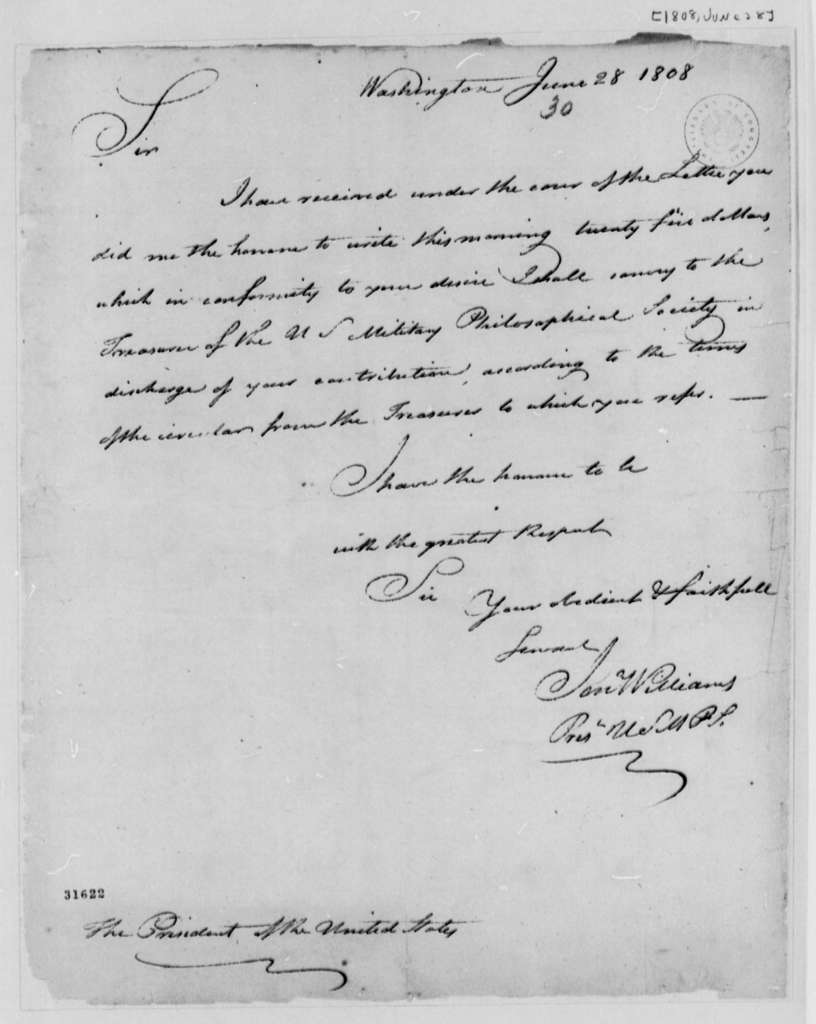 Thomas Jefferson to Jonathan Williams, June 28, 1808