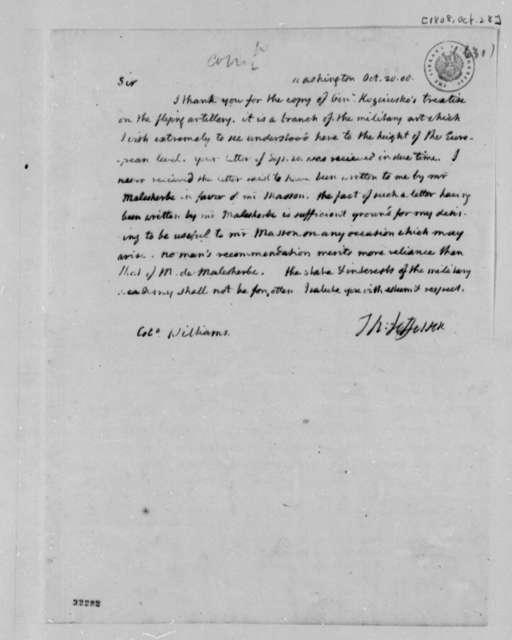 Thomas Jefferson to Jonathan Williams, October 28, 1808
