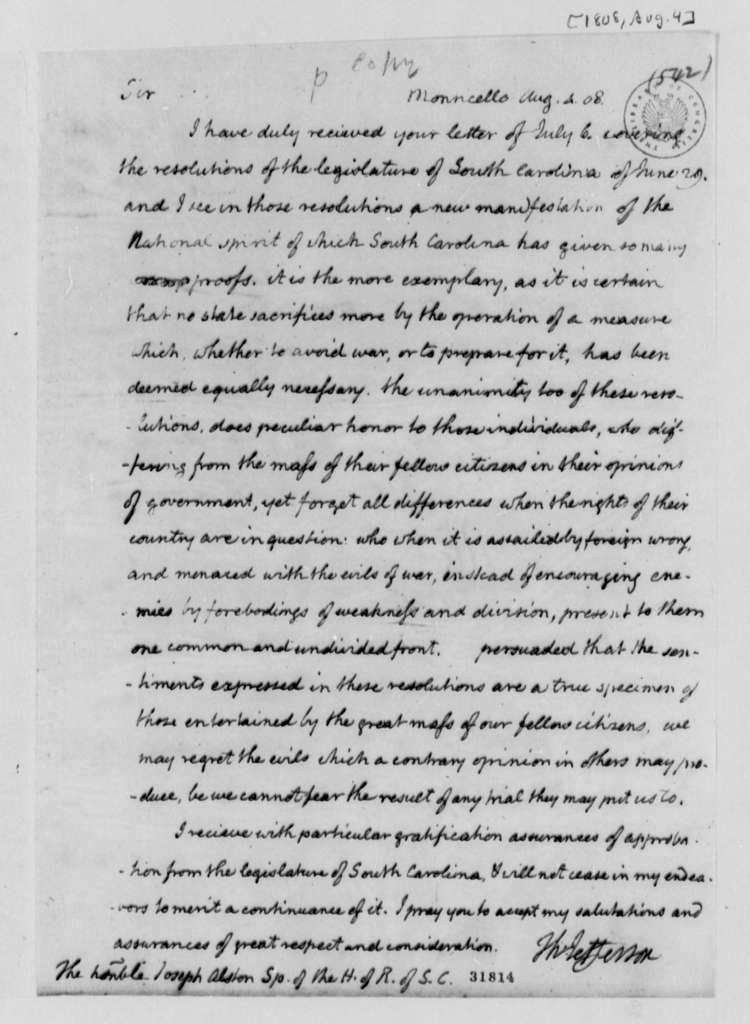 Thomas Jefferson to Joseph Alston, August 4, 1808