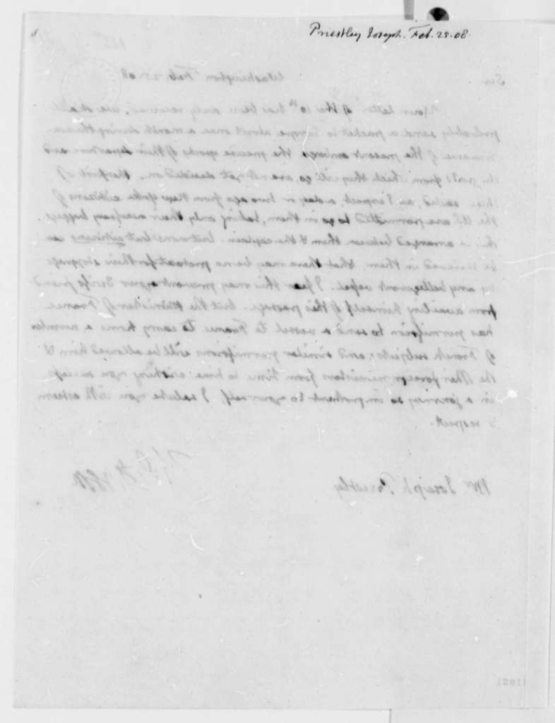 Thomas Jefferson to Joseph Priestley, Jr., February 25, 1808