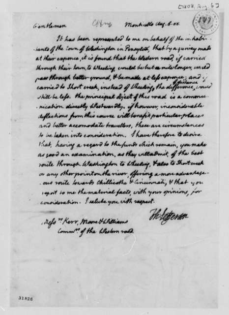 Thomas Jefferson to Kerr, Moore, and Williams, August 6, 1808