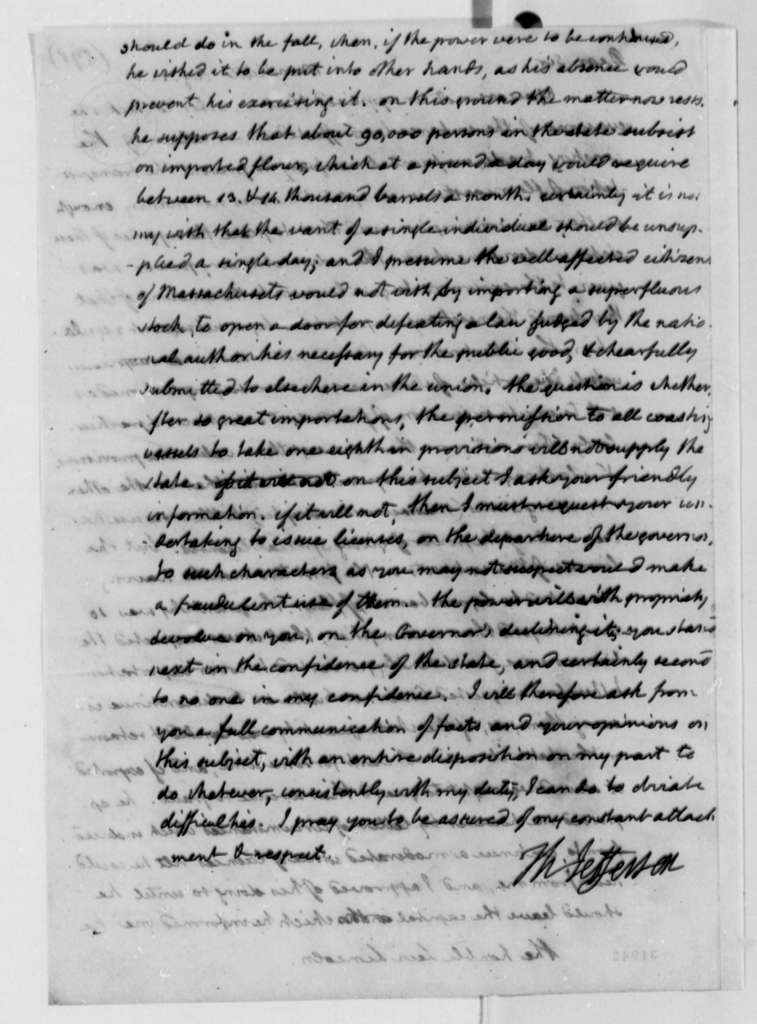 Thomas Jefferson to Levi Lincoln, August 22, 1808