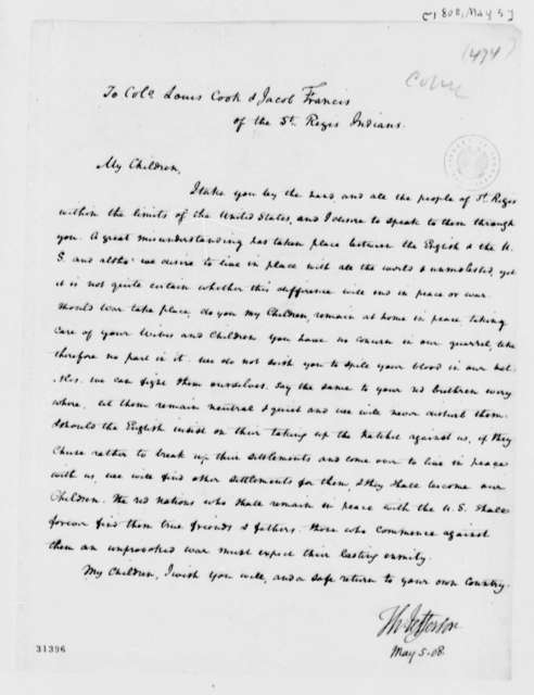 Thomas Jefferson to Lewis Cook and Jacob Francis, May 5, 1808, of the St. Regis Indians