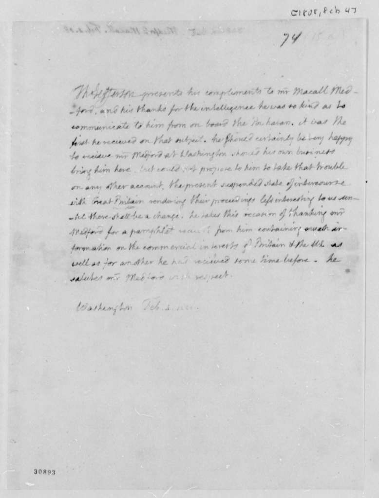 Thomas Jefferson to Macall Medford, February 4, 1808
