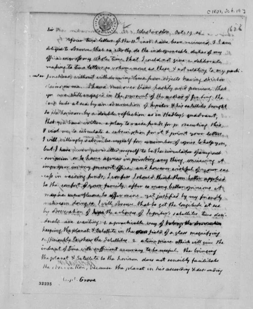 Thomas Jefferson to Matthew C. Groves, October 19, 1808