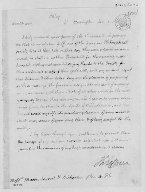 Thomas Jefferson to Mease-Seybert and Dickinson, January 9, 1808