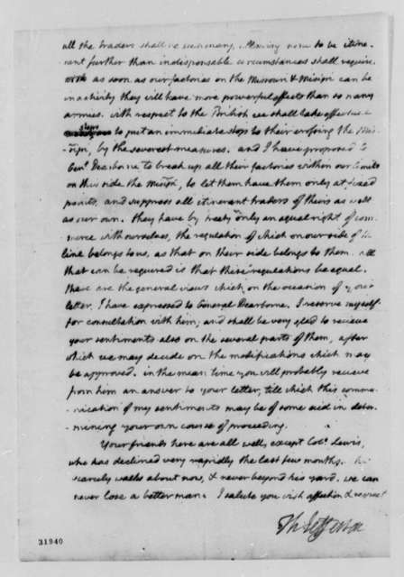 Thomas Jefferson to Meriwether Lewis, August 21, 1808