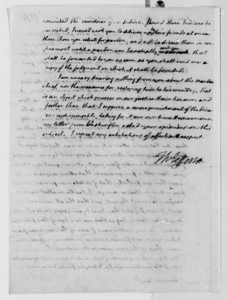 Thomas Jefferson to Meriwether Lewis, August 24, 1808