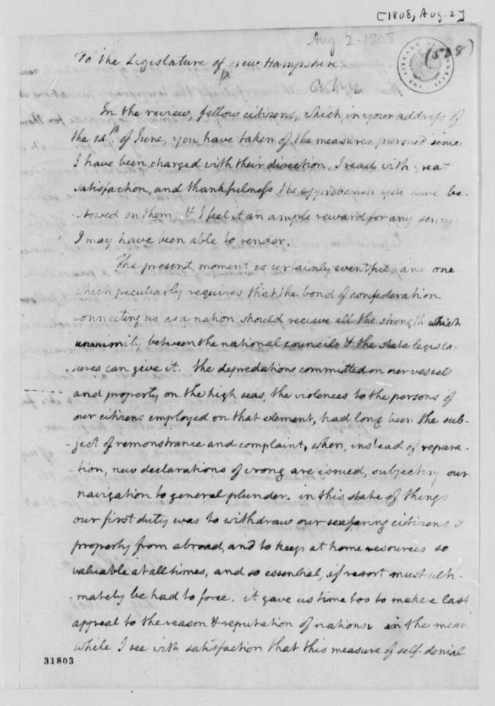 Thomas Jefferson to New Hampshire Legislature, August 2, 1808