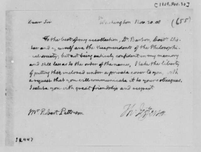 Thomas Jefferson to Robert Patterson, November 30, 1808