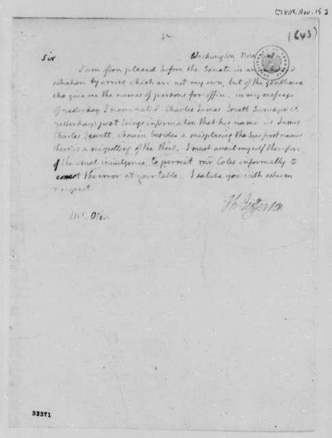 Thomas Jefferson to Samuel A. Otis, November 15, 1808