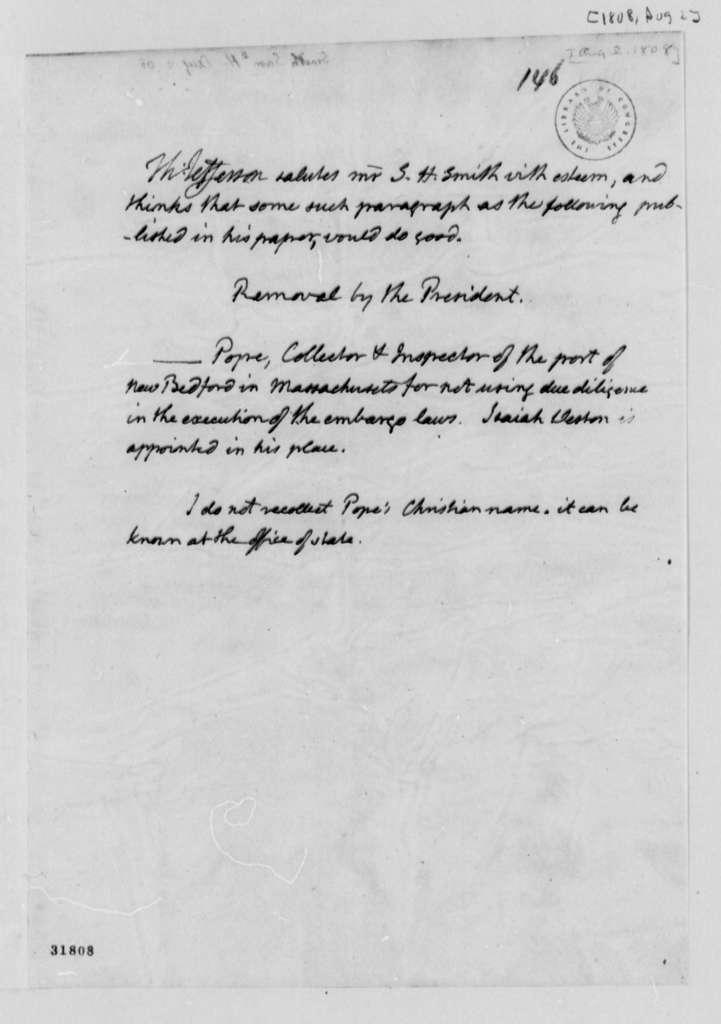 Thomas Jefferson to Samuel H. Smith, August 2, 1808