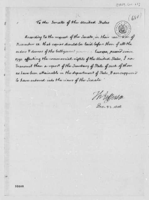 Thomas Jefferson to Senate, December 23, 1808, Report