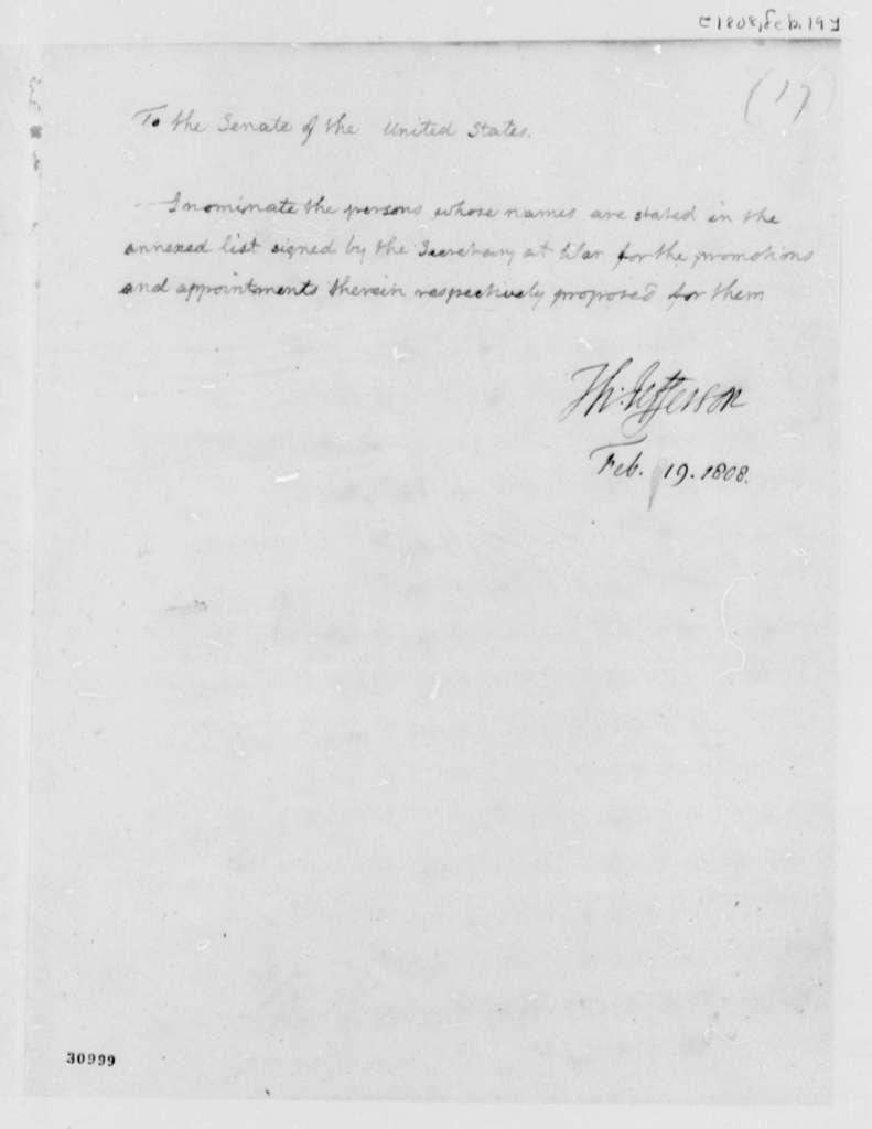 Thomas Jefferson to Senate, February 19, 1808