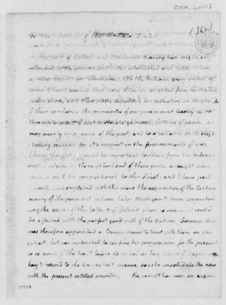Thomas Jefferson to Senate, January 15, 1808