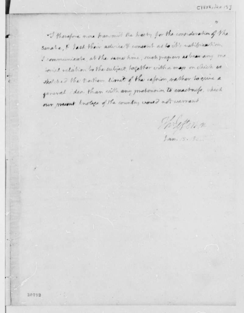 Thomas Jefferson to Senate, January 15, 1808