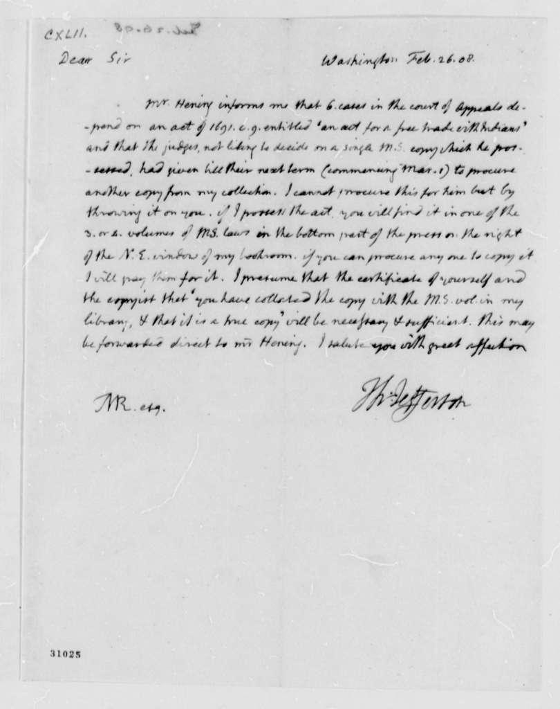Thomas Jefferson to Thomas Mann Randolph, Jr., February 26, 1808