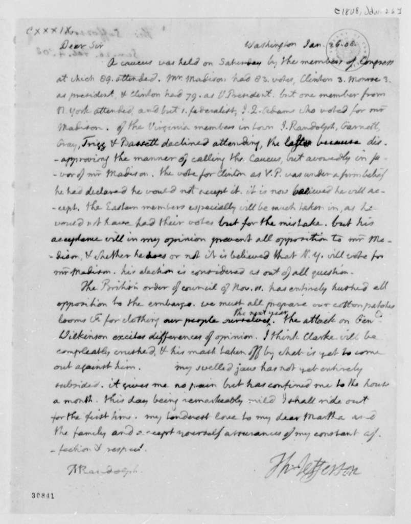Thomas Jefferson to Thomas Mann Randolph, Jr., January 26, 1808