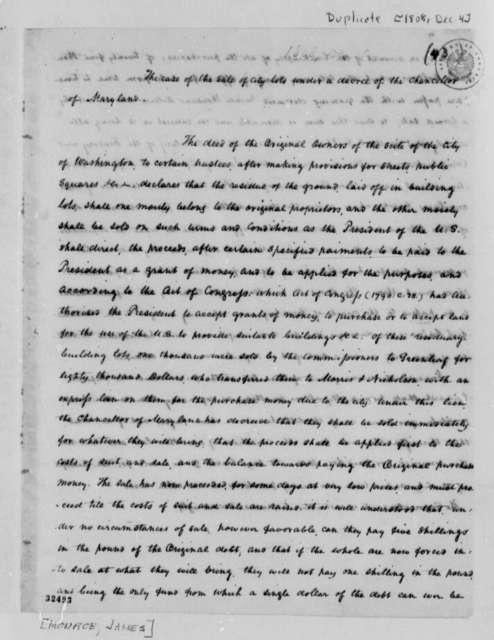 Thomas Jefferson to Thomas Munroe, December 4, 1808, with Copy