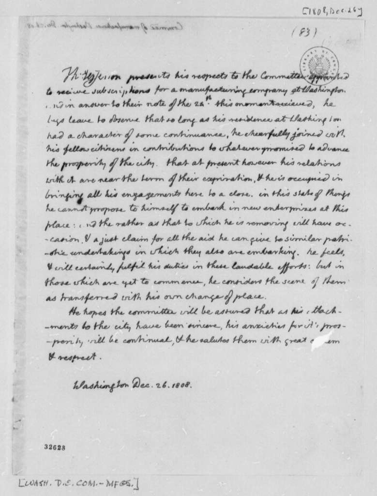 Thomas Jefferson to Washington, D.C., Manufacturing Committee, December 26, 1808