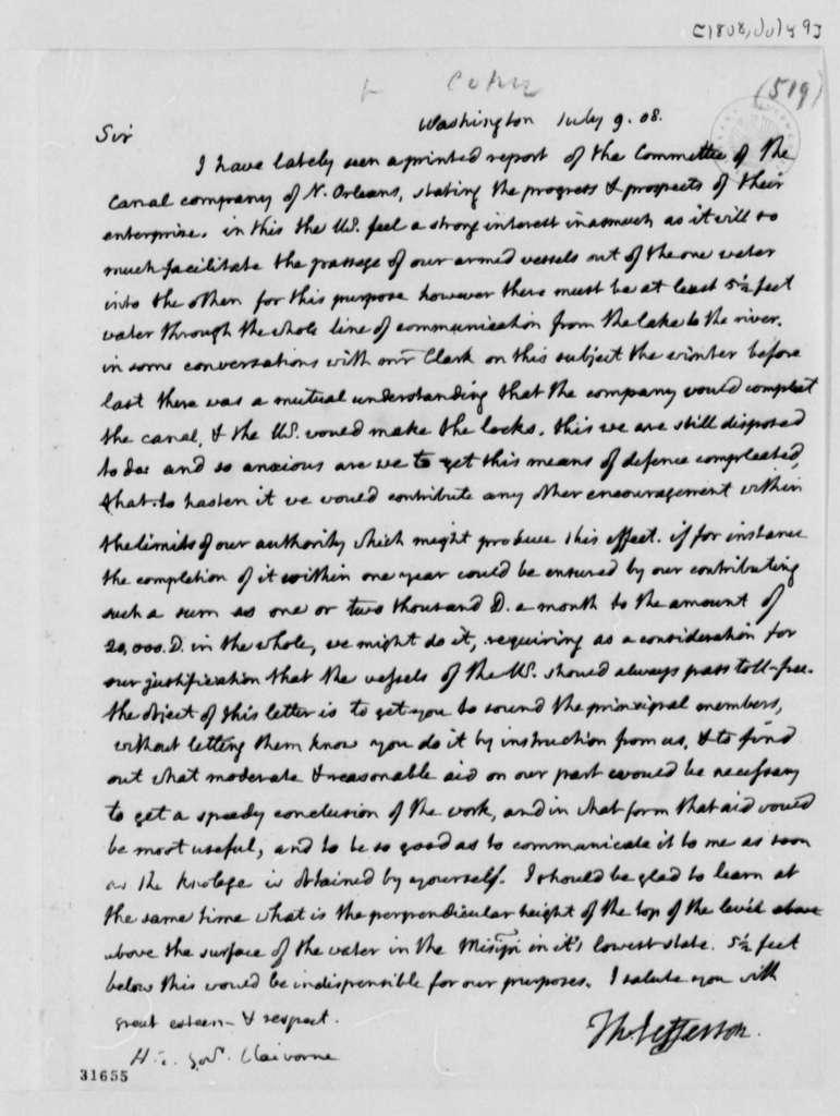 Thomas Jefferson to William C. C. Claiborne, July 9, 1808