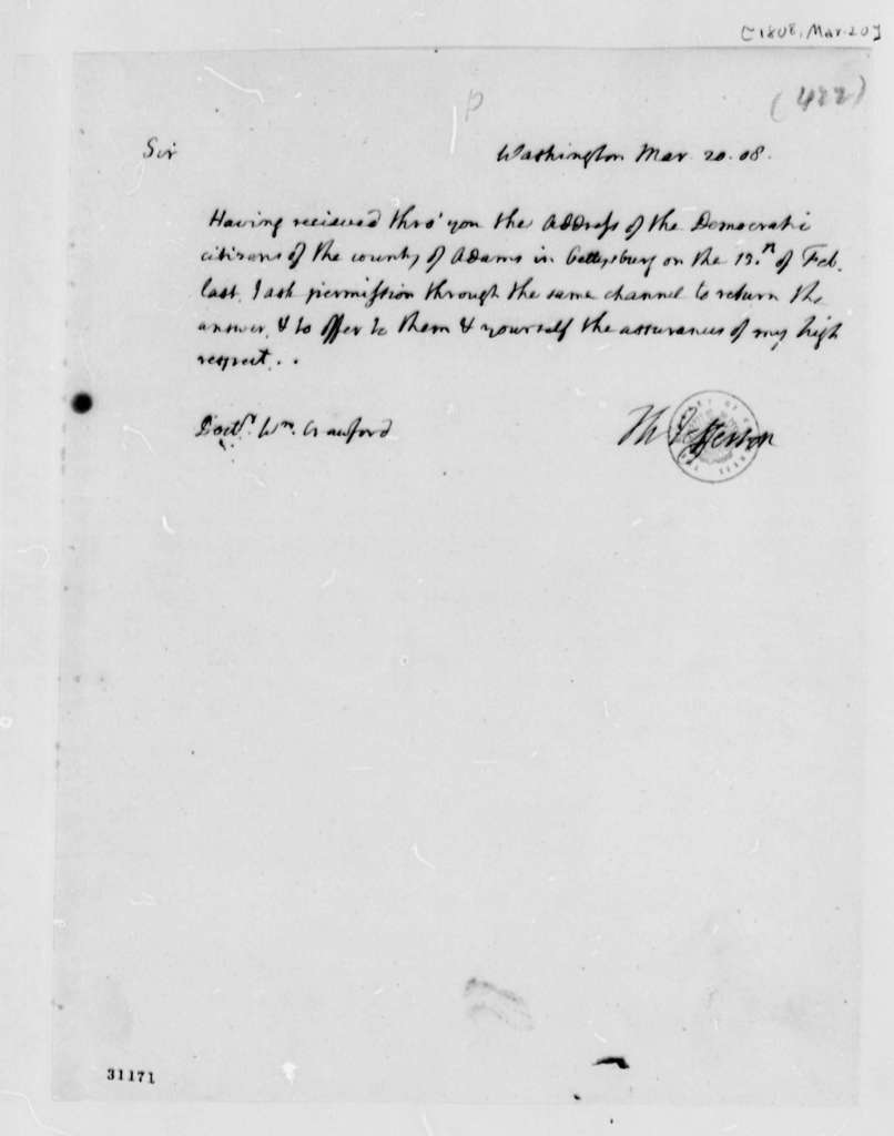 Thomas Jefferson to William H. Crawford, March 20, 1808