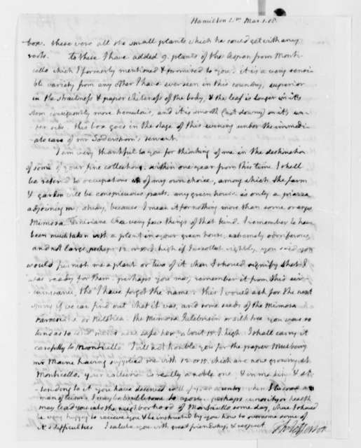 Thomas Jefferson to William Hamilton, March 1, 1808