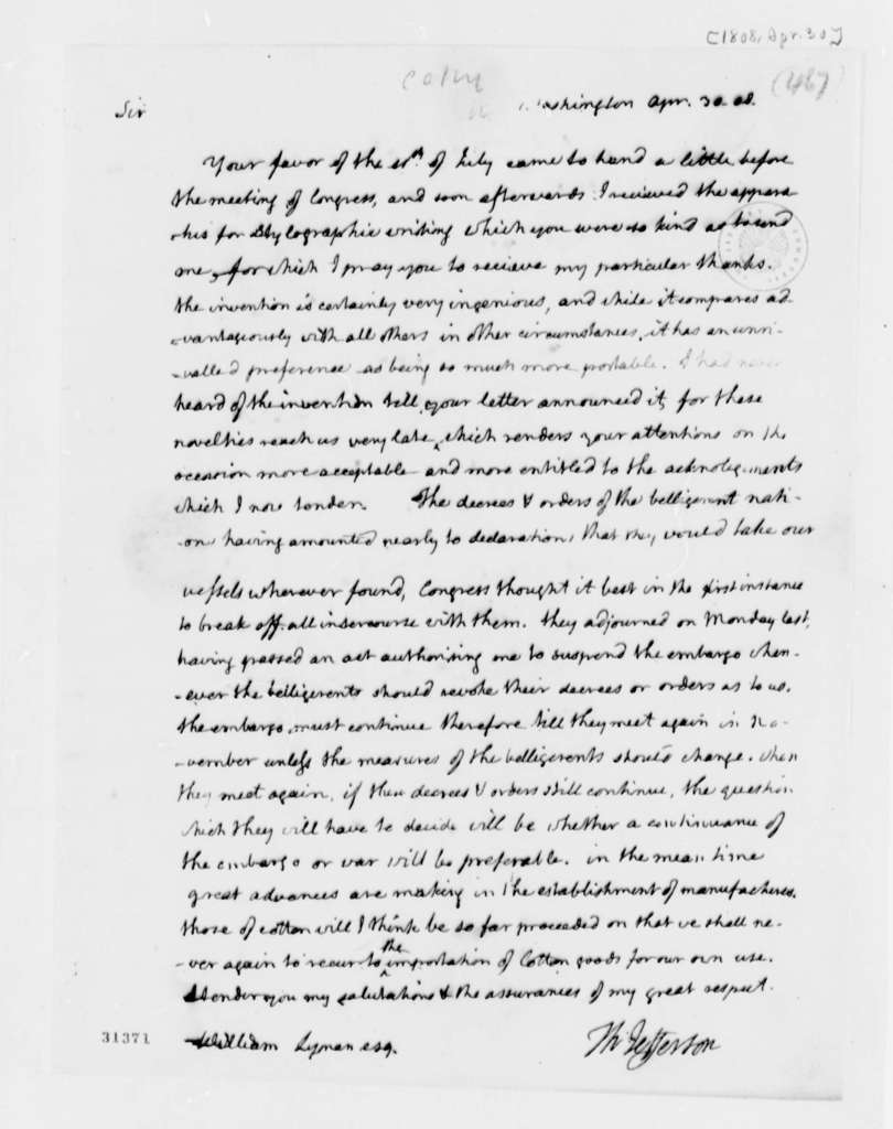Thomas Jefferson to William Lyman, April 30, 1808