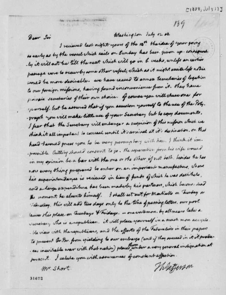 Thomas Jefferson to William Short, July 13, 1808