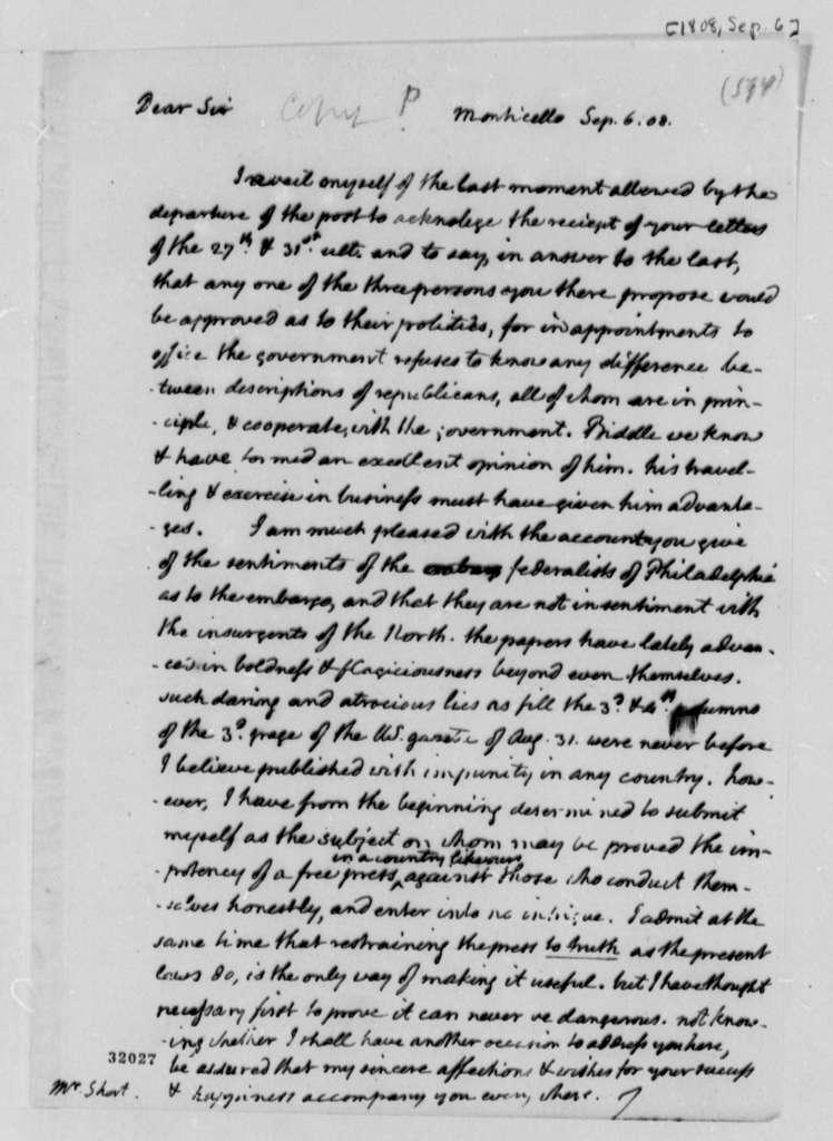 Thomas Jefferson to William Short, September 6, 1808