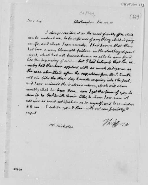 Thomas Jefferson to Wilson Cary Nicholas, December 22, 1808