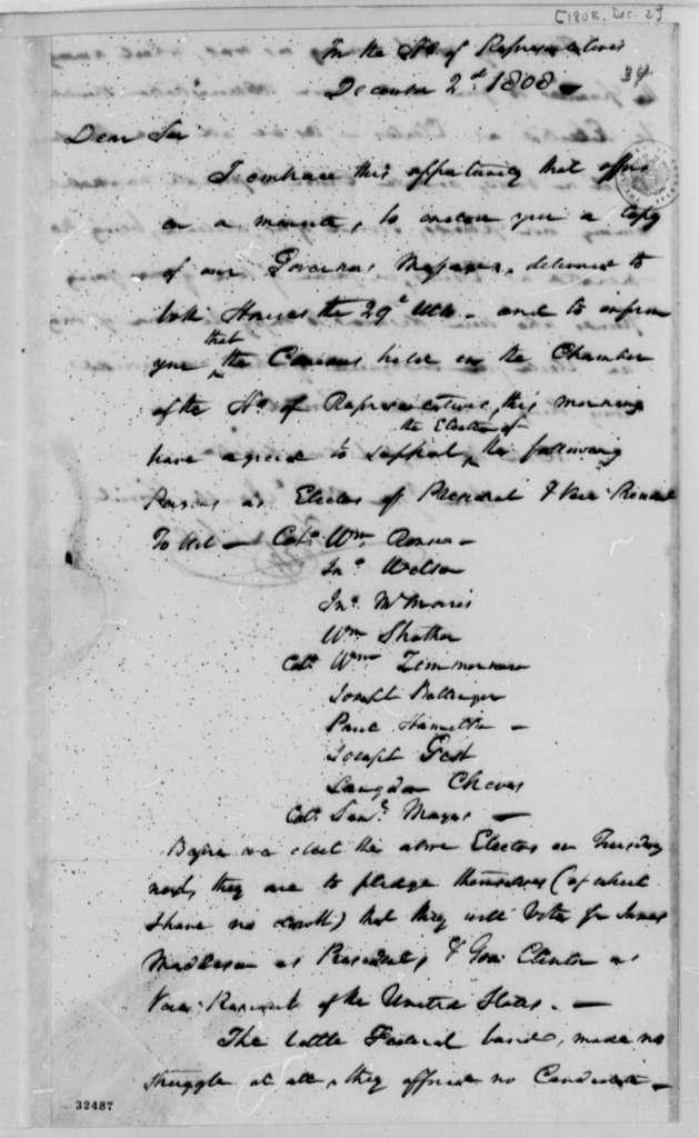 Thomas Lehre to Thomas Jefferson, December 2, 1808