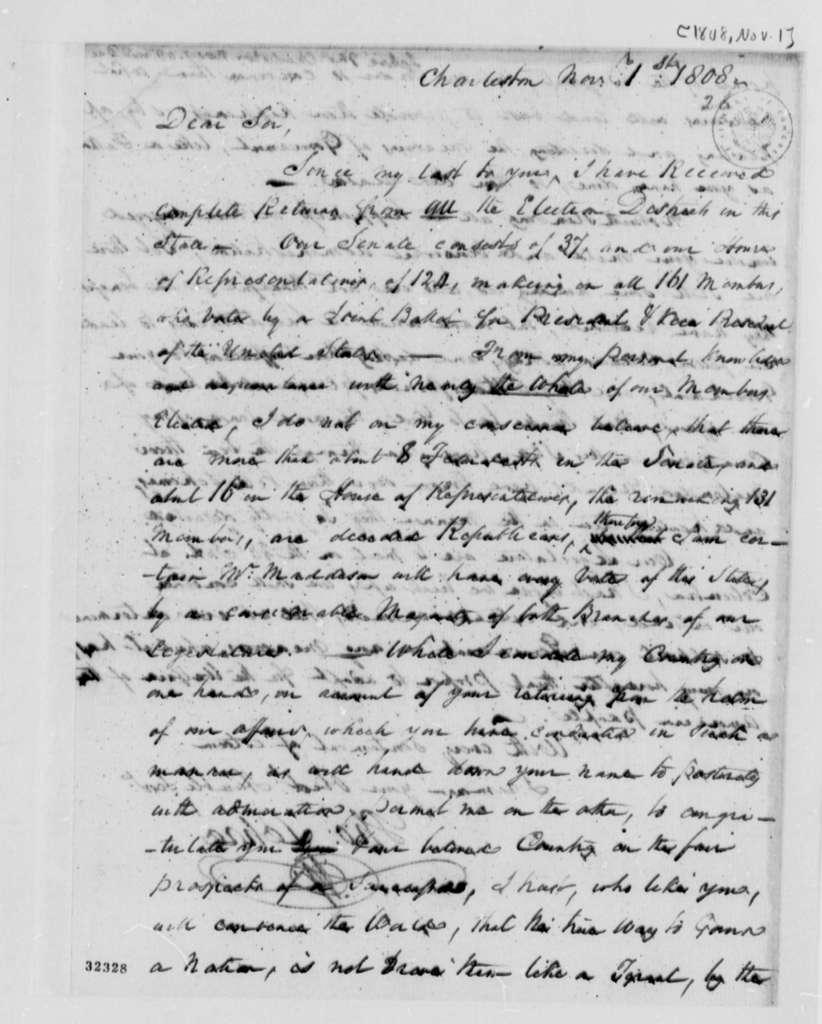 Thomas Lehre to Thomas Jefferson, November 1, 1808