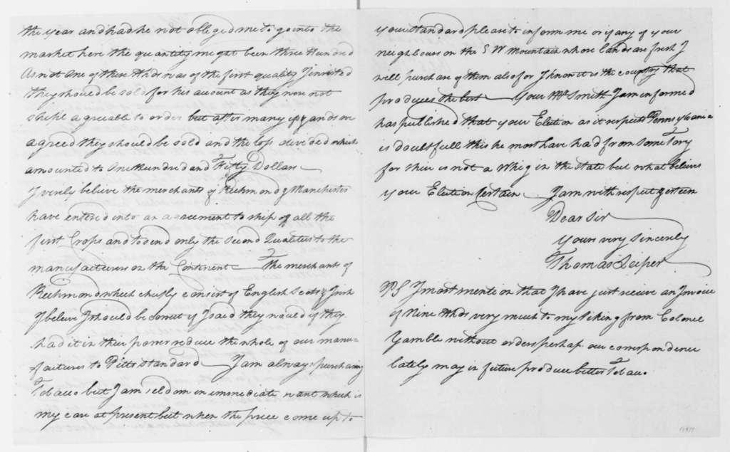Thomas Leiper to James Madison, October 6, 1808.