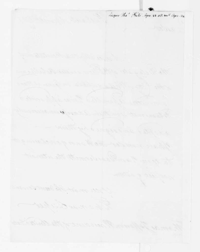 Thomas Leiper to Thomas Jefferson, April 22, 1808