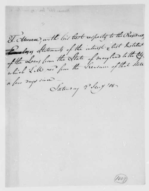Thomas Munroe, Superintendent of the City to Thomas Jefferson, January 2, 1808
