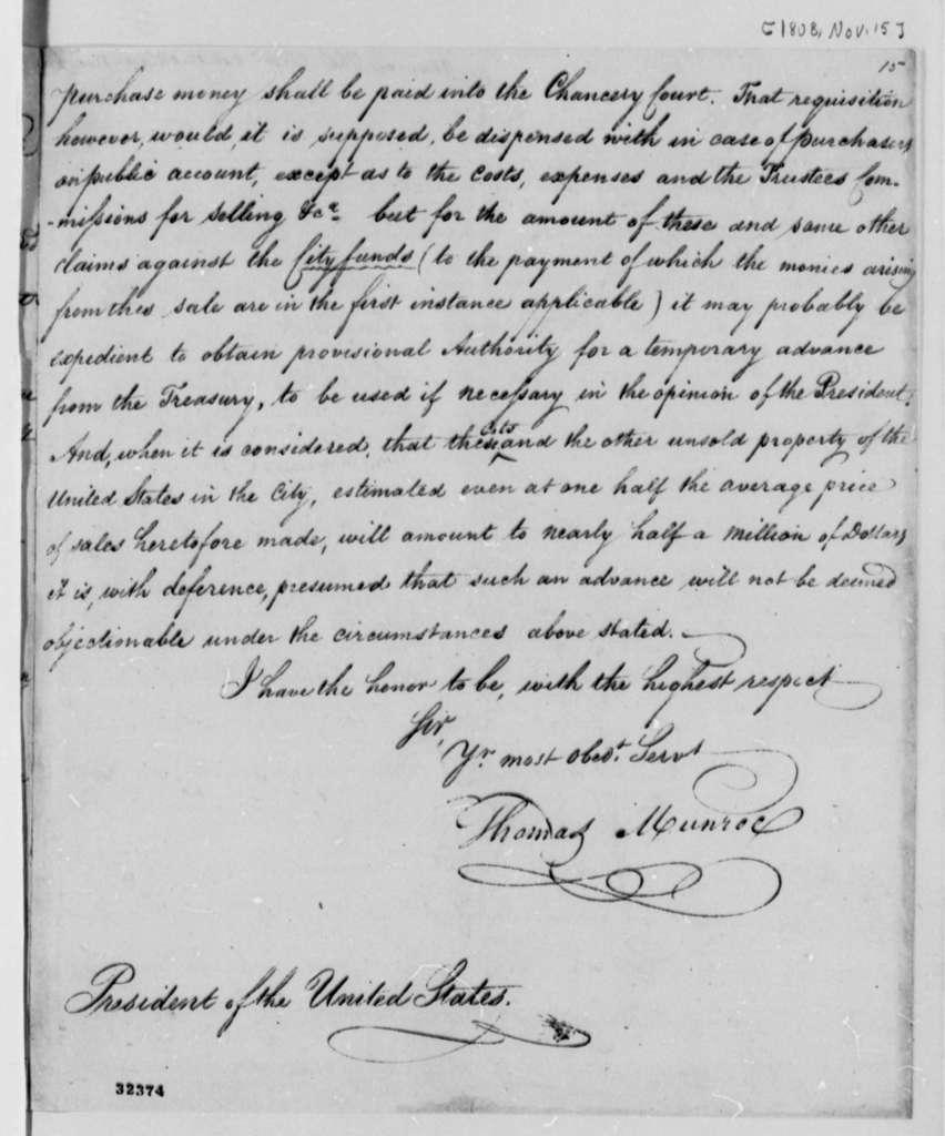 Thomas Munroe to Thomas Jefferson, November 15, 1808