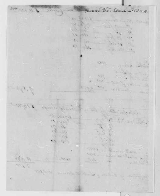 Thomas Munroe to Thomas Jefferson, October 3, 1808, Estimates