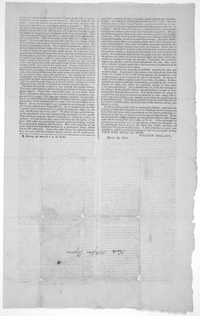 To the freeholders of Louisa County ... [Signed William Shelton, March 3d, 1808.]