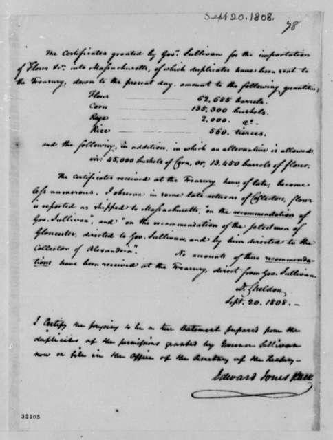 Treasury Department, September 20, 1808, Report on Certificates of Massachusetts Flour Imports