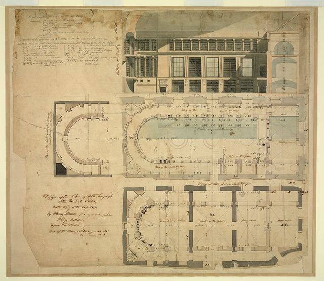 [United States Capitol, Washington, D.C. Library of Congress, north wing, section & plans]