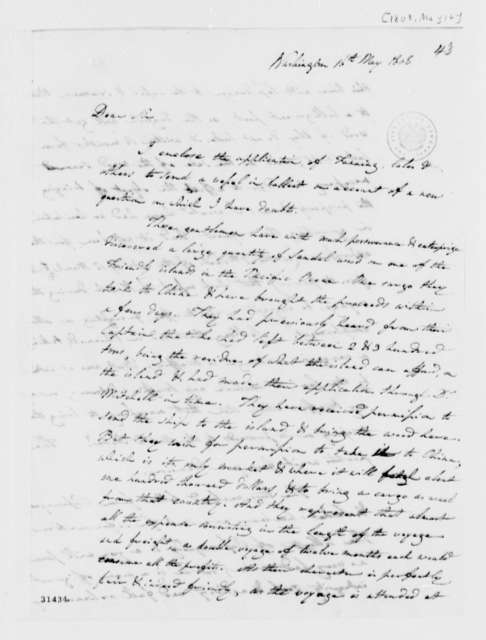Unknown to Thomas Jefferson, May 16, 1808, Incomplete