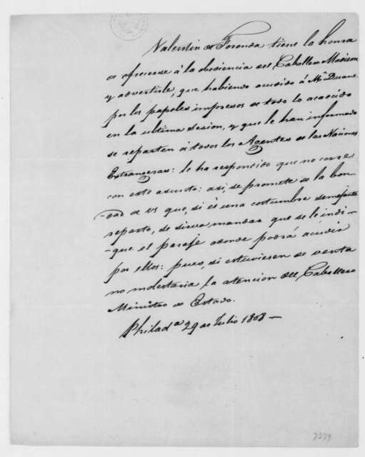 Valentin de Foronda to James Madison, July 29, 1808. Two sided - In Spanish.