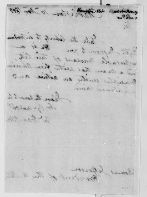 Wade Hampton to Thomas Jefferson, November 19, 1808