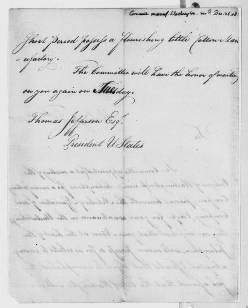 Washington, D.C., Manufacturing Committee to Thomas Jefferson, December 24, 1808, Presentation