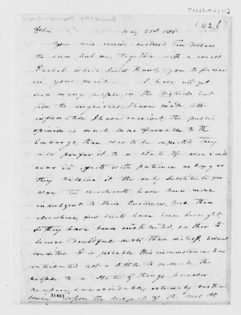 William A. Burwell to Thomas Jefferson, May 21, 1808